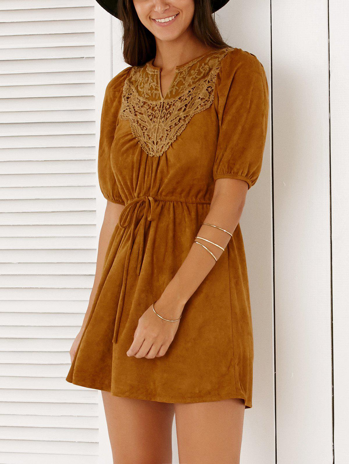 Lace Spliced Drawstring Solid Color Mini Dress For Women - DEEP BROWN XL