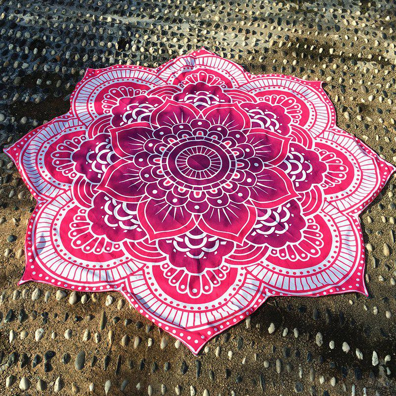 Retro Indian Style Personnalité forme Mandala Fleur Polyster Plage Ronde Throw - Rouge ONE SIZE