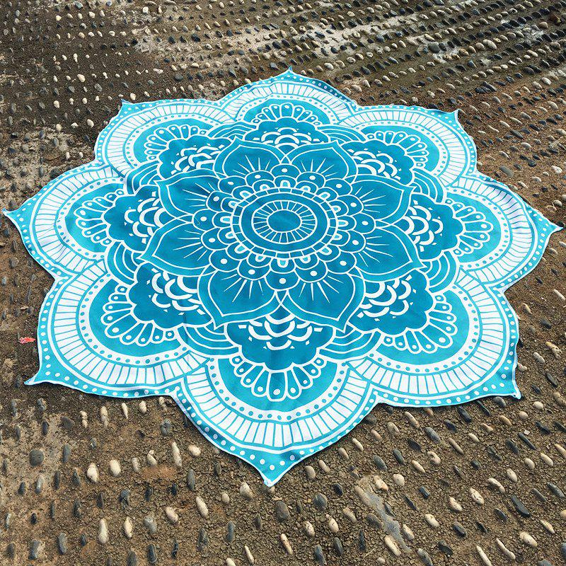 Retro Indian Style Personnalité forme Mandala Fleur Polyster Plage Ronde Throw - Vert ONE SIZE(FIT SIZE XS TO M)