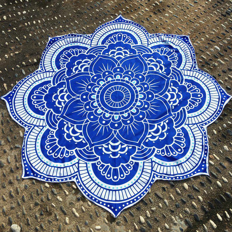 Retro Indian Style Personnalité forme Mandala Fleur Polyster Plage Ronde Throw - Bleu ONE SIZE(FIT SIZE XS TO M)
