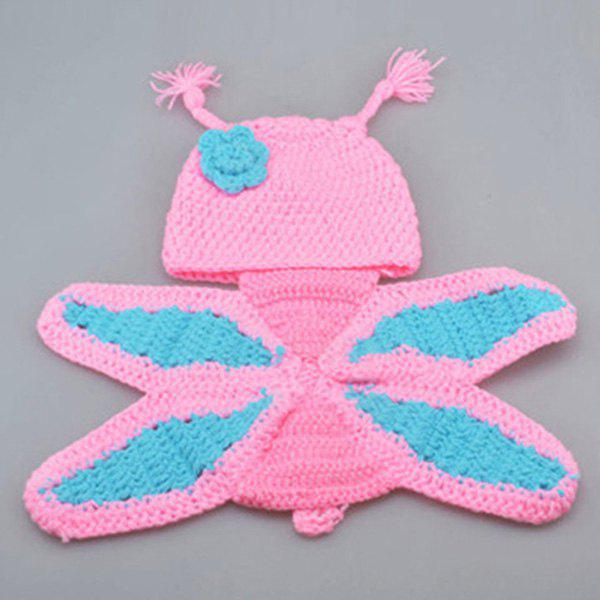 Creative Crochet Pink Butterfly Shape Photography Clothes Set For Baby