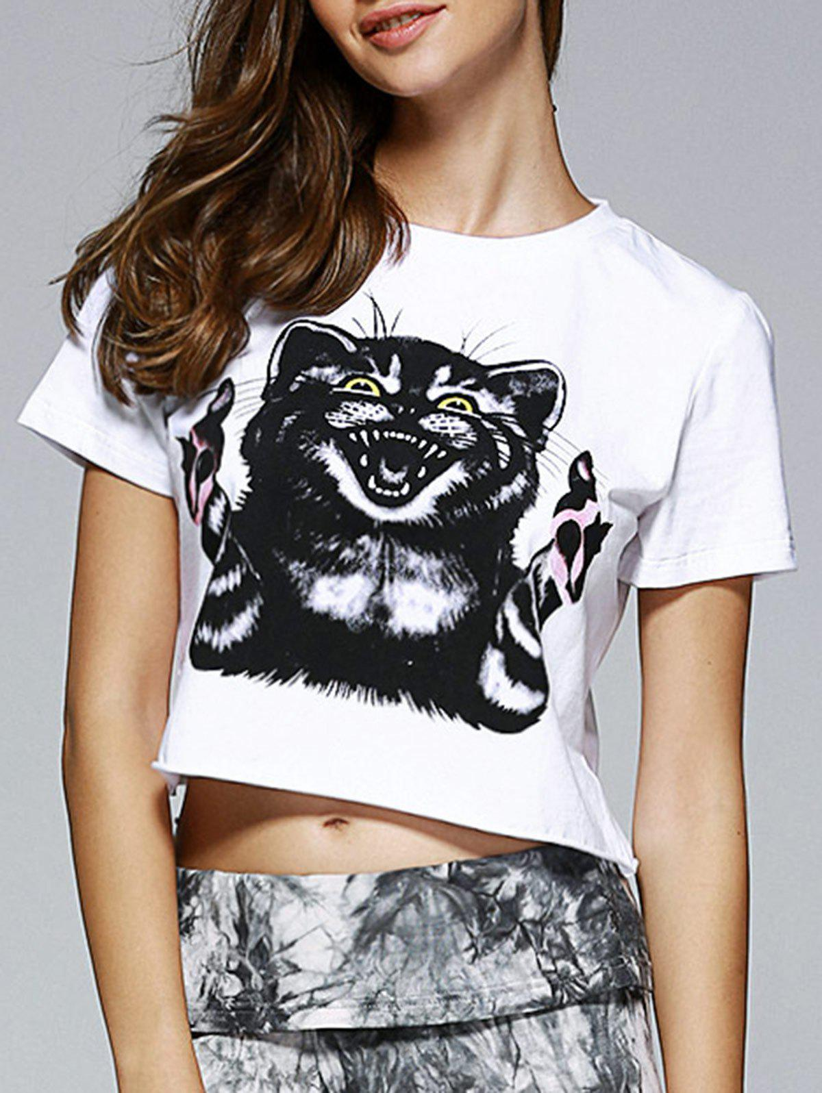 Fashionable Women's Round Neck Short Sleeve Animal Motifs Crop Top - WHITE XL