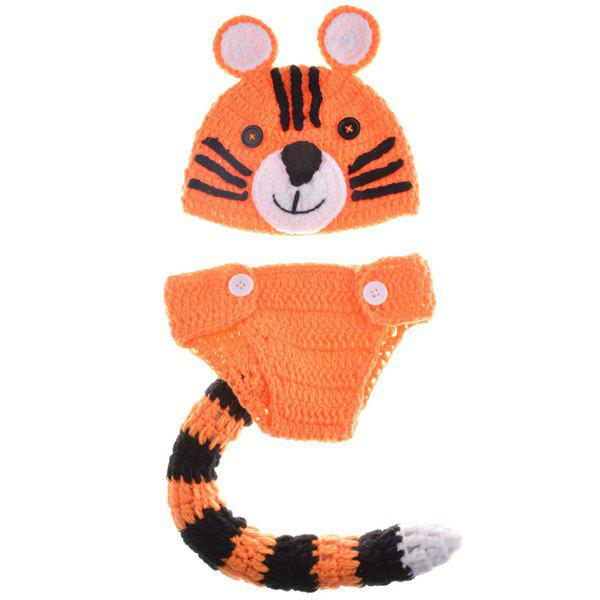 Sweet Woolen Yarn Knitted Tiger Shape Photography Clothes Set For Baby