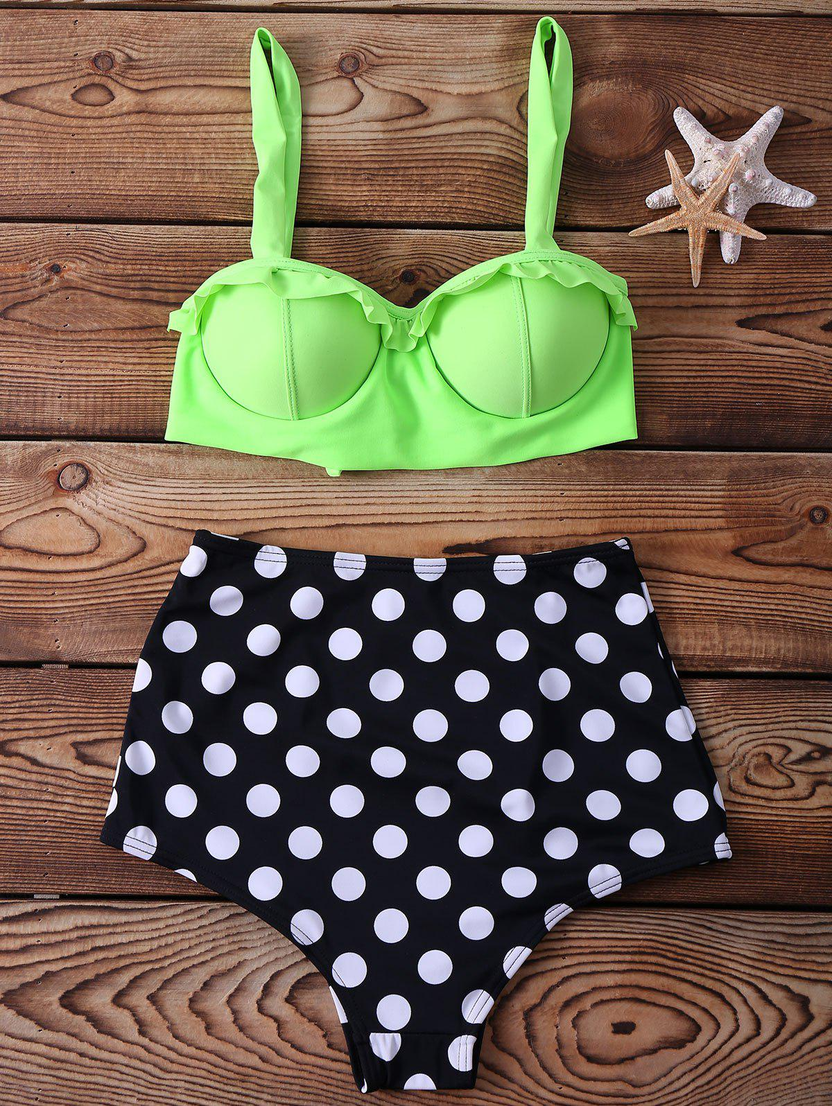 High Waisted Polka Dot Print Spaghetti Strap Two-piece Swimsuit For Women - NEON GREEN M