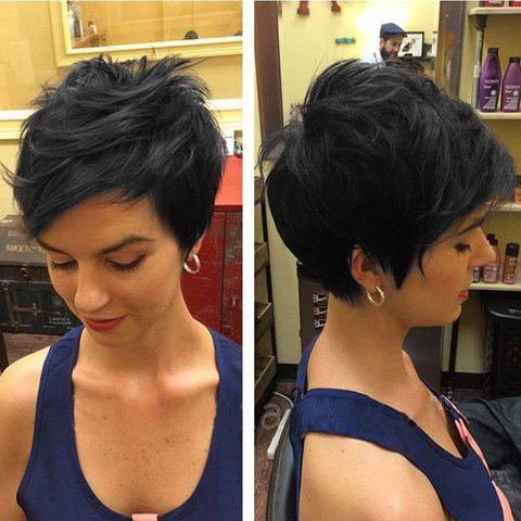 Fluffy Spiffy Short Boy Cut Slightly Curled Women's Human Hair Side Bang Wig - BLACK