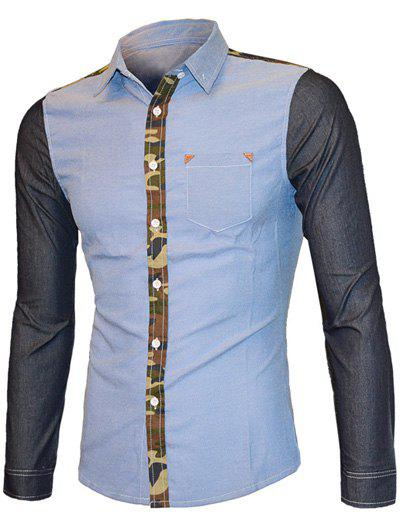 Turn-down Collar Mens Long Sleeve Camo Color Splicing ShirtMen<br><br><br>Size: XL<br>Color: BLUE