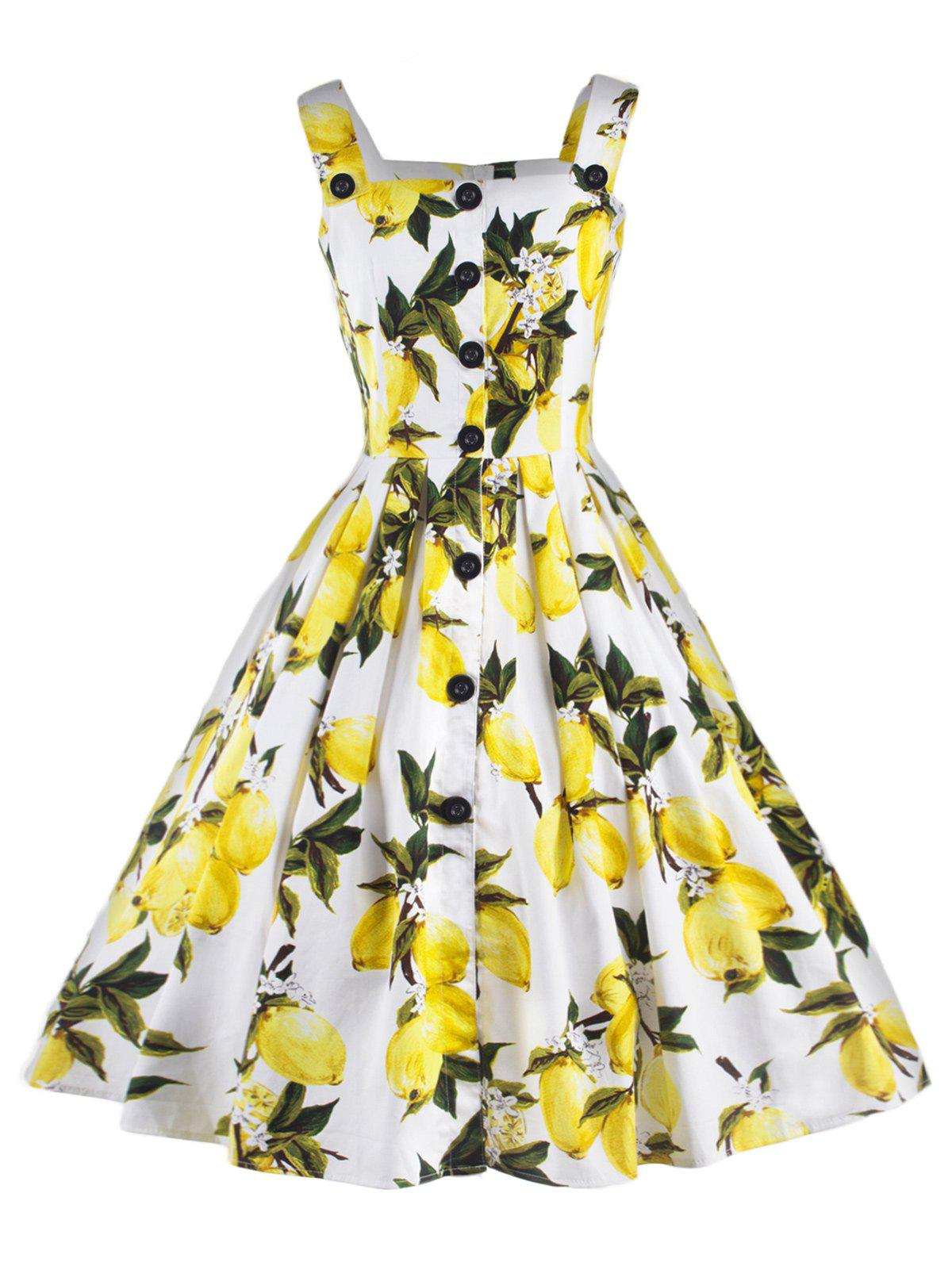 Vintage Strappy Lemon Print Dress For Women - WHITE 2XL