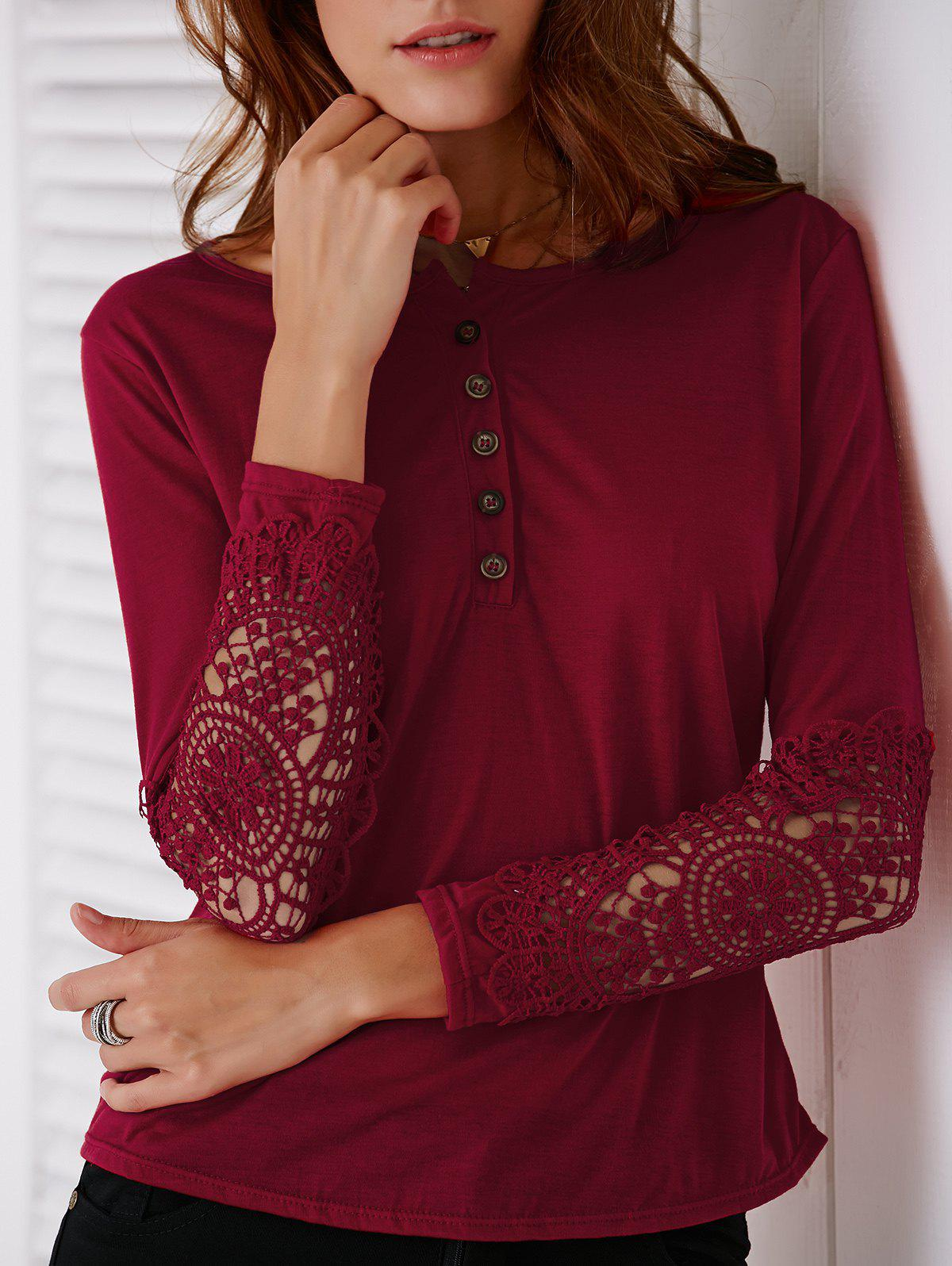 Casual Lace Splicing Long Sleeve T-Shirt For Women - WINE RED M