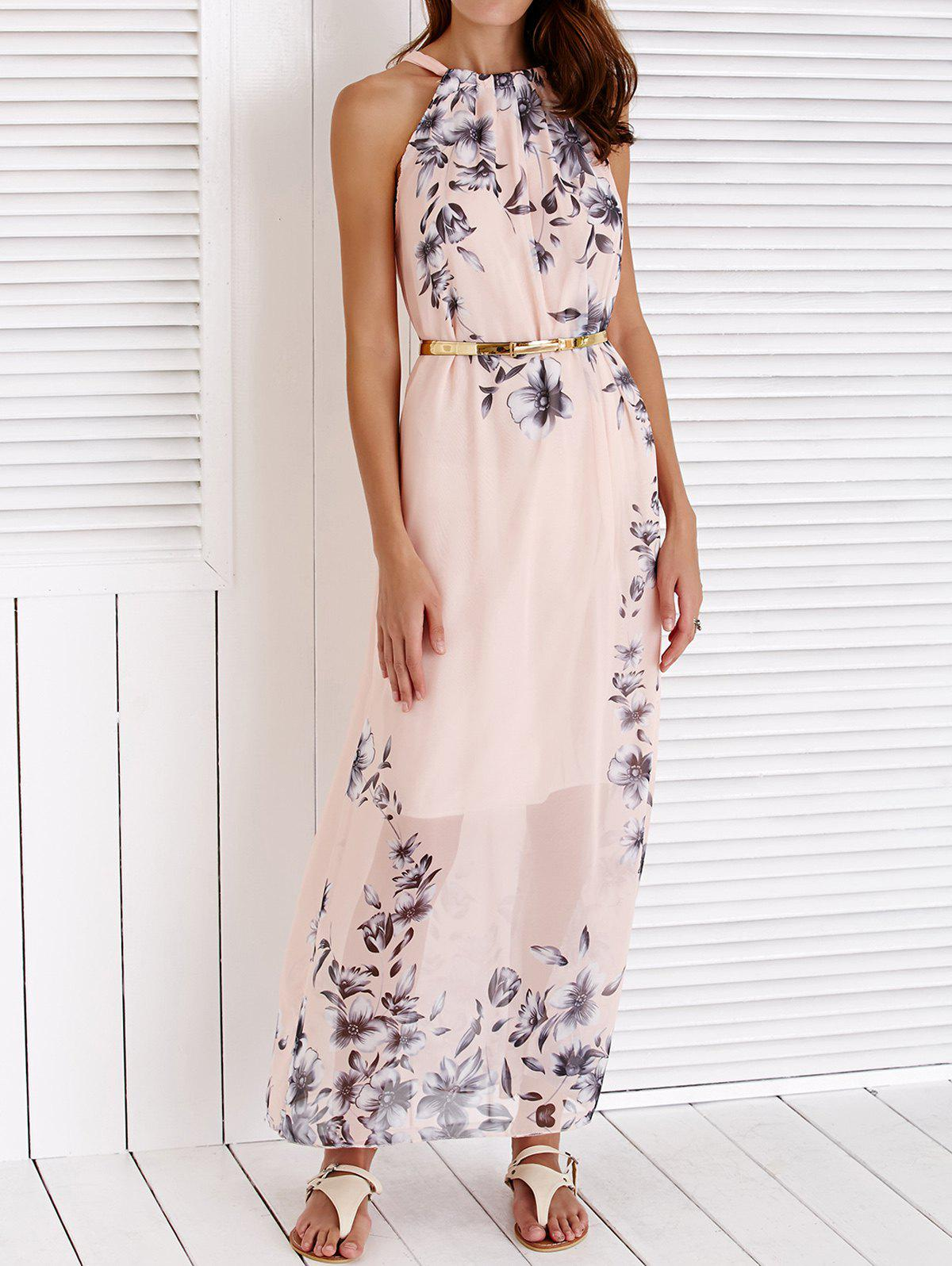 Chic Sleeveless Round Collar Floral Print Women's Maxi Dress - PINK S