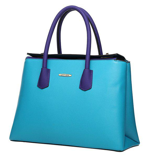 Trendy Colour Splicing and Double Twist-Lock Design Women's Tote Bag