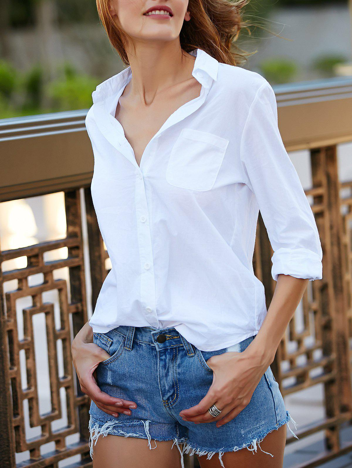 Casual Solid Color Long Sleeves Loose-Fitting Women's Shirt - WHITE S
