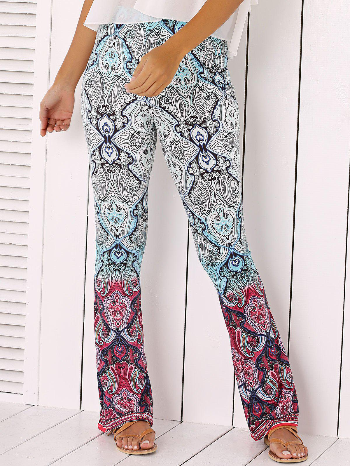 Ethnic Totem Print Flare Pants - COLORMIX XL