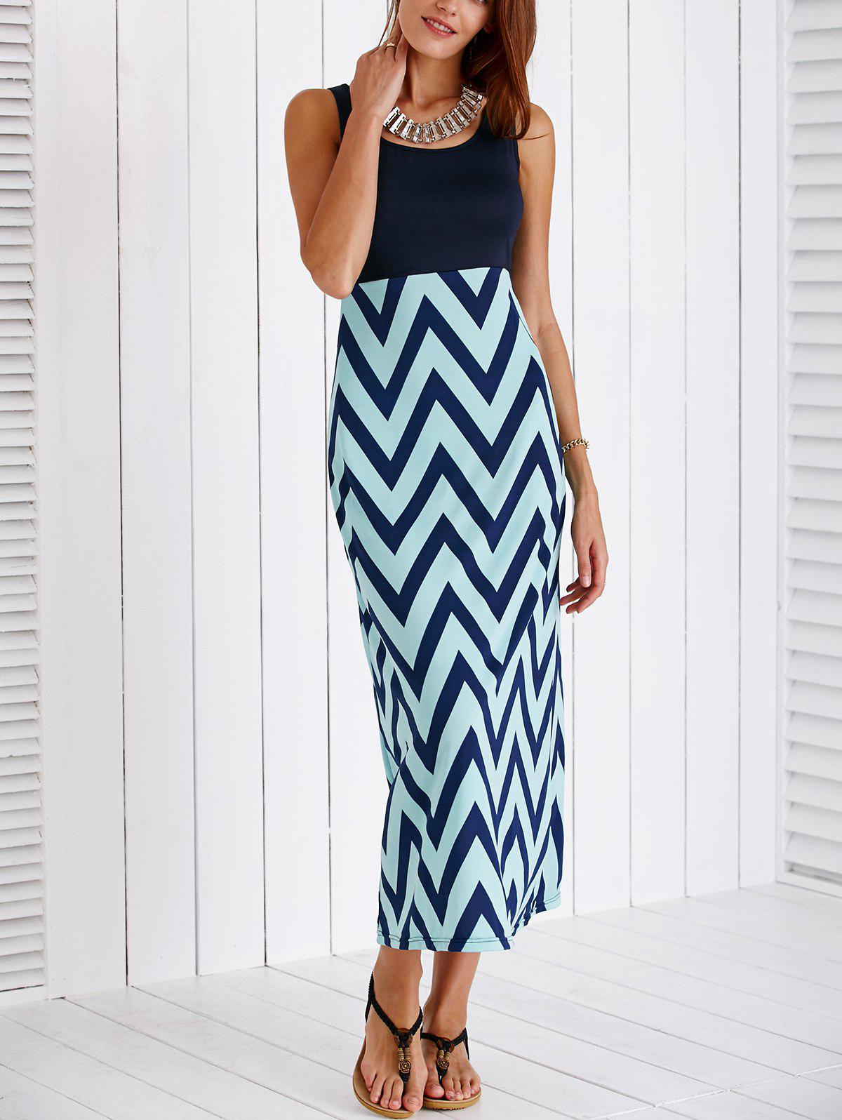 Stylish Women's Scoop Neck Zig Zag Maxi Dress - DEEP BLUE S
