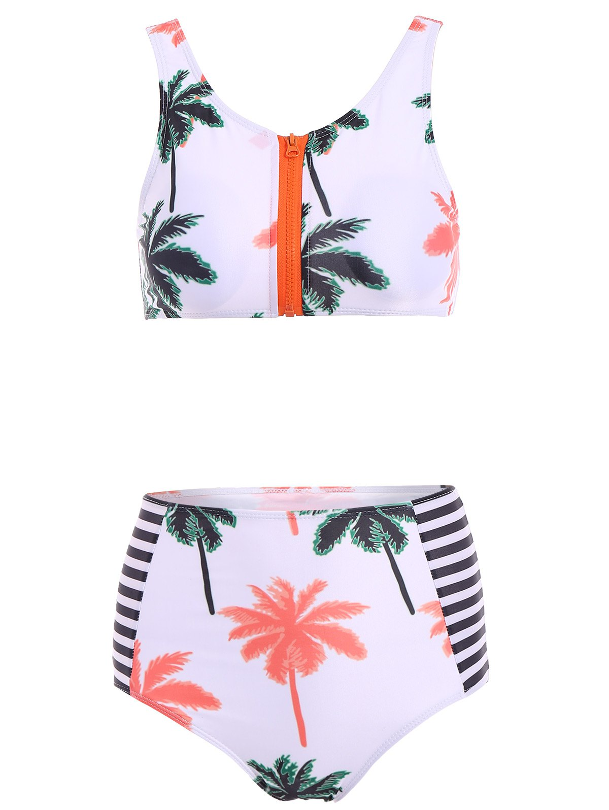 Stylish High Neck Palm Tree Print Striped High Waist Women's Bikini Set - WHITE S