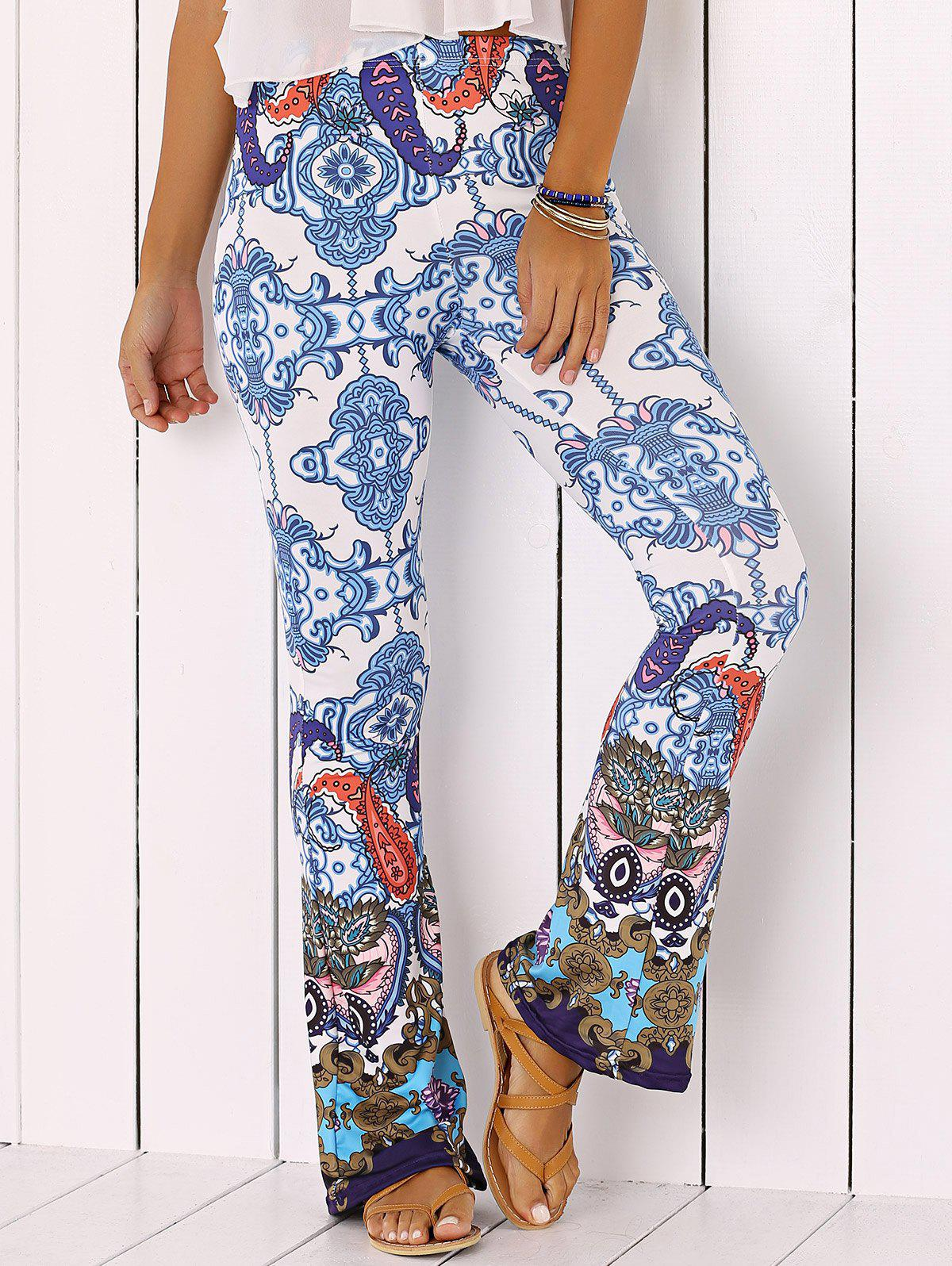Chic Totem Print Flare Pants - BLUE XL