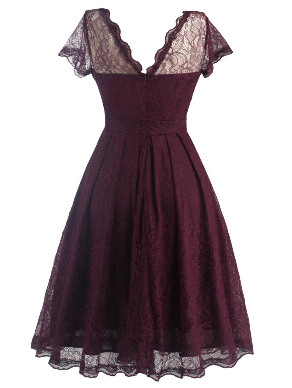 Funky Short Wedding A Line Dress With Sleeves - WINE RED L