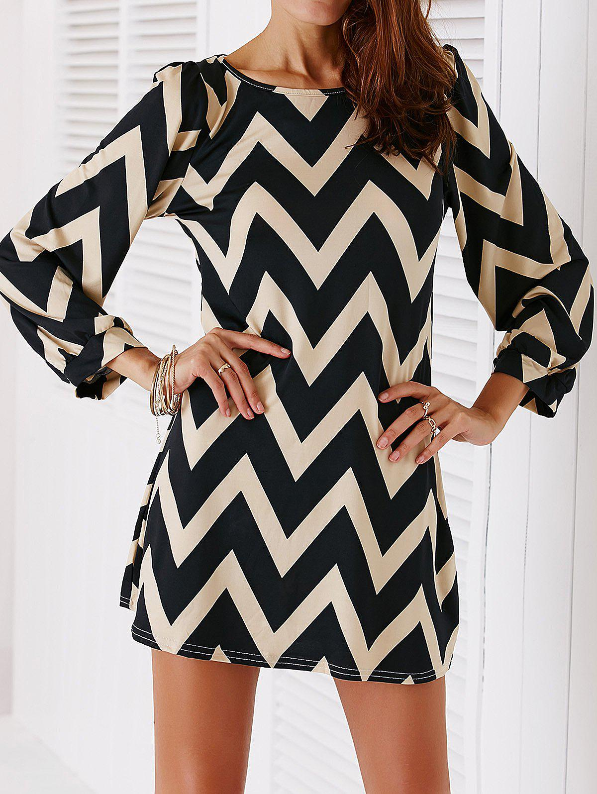Chic Color Block Zig Zag Print Women's Dress - BLACK S