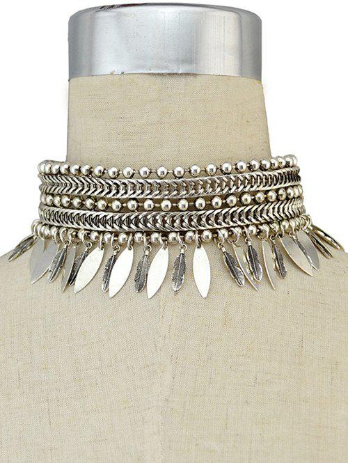Stylish Leaf Fringe Metal Choker Necklace