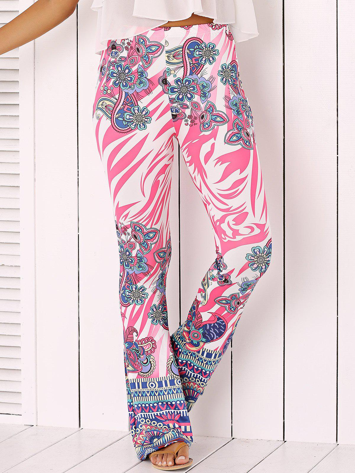 Chic Flower Print Flare Pants - PINK XL