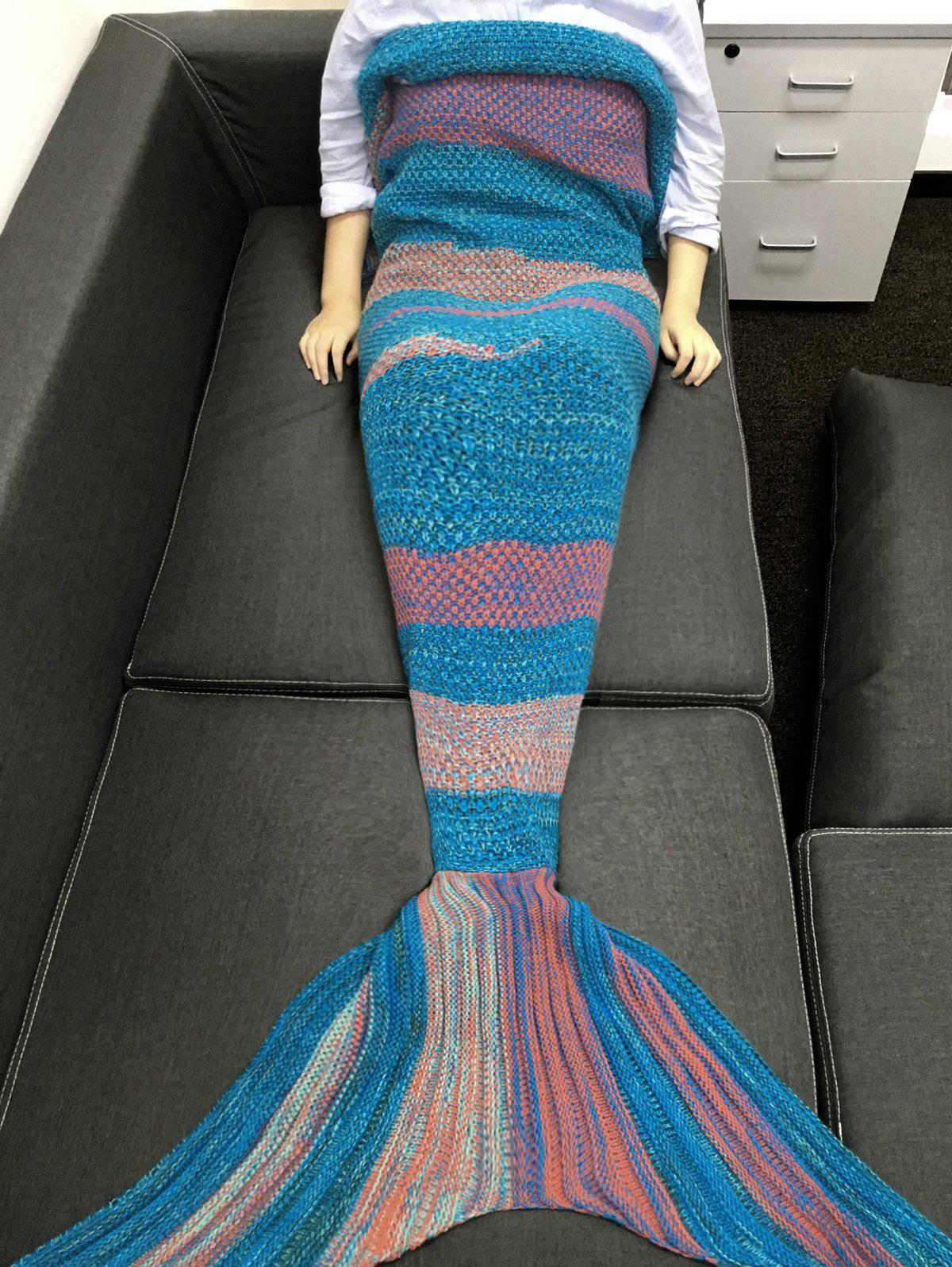 Chic Quality Super Soft Crochet Knitted Mermaid Tail Sofa Blanket - BLUE