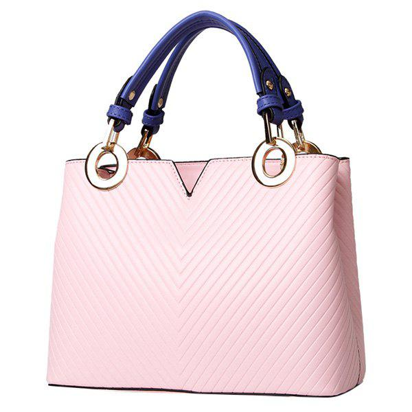Fashionable Metal Ring and Color Block Design Women's Tote Bag - PINK