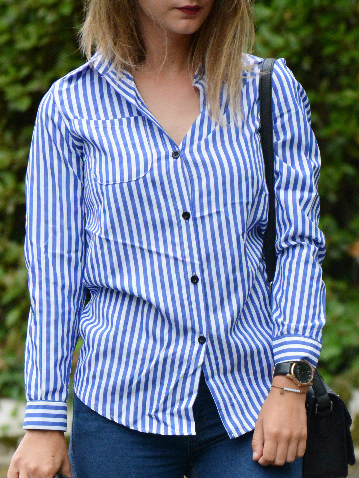 Casual Shirt Collar Striped Long Sleeve Women's Blouse - BLUE/WHITE S