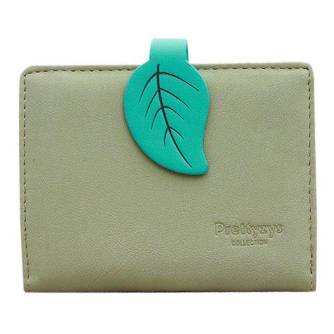 Trendy Leaf and Bi-Fold Design Women's Small Wallet - GREEN