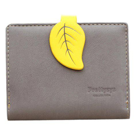Trendy Leaf and Bi-Fold Design Women's Small Wallet - GRAY
