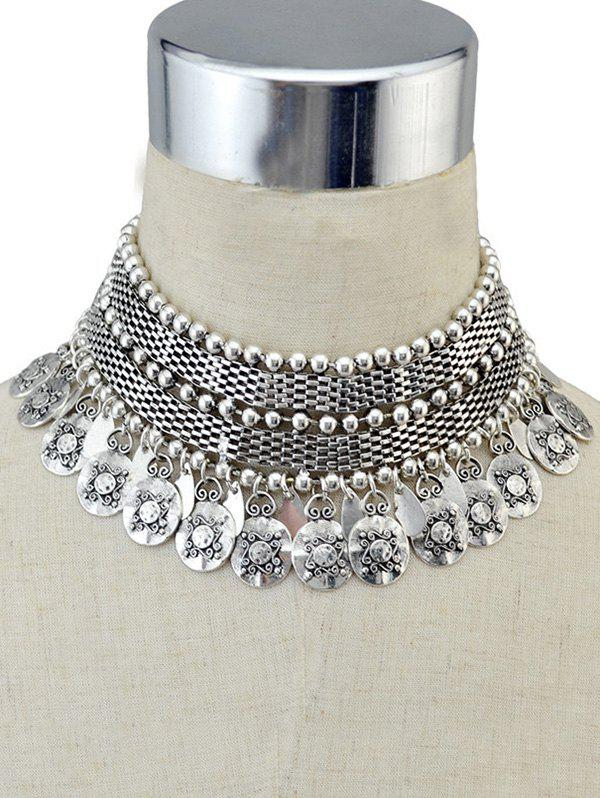 Punk Coind Fringe Metal Choker Necklace - SILVER