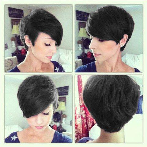 Prevailing Short Black Human Hair Side Bang Fluffy Wig For Women - BLACK