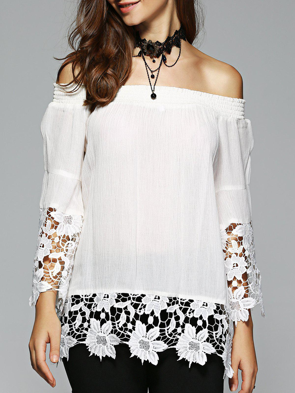 Women's Elegant Off The Shoulder Lace Spliced White Blouse - WHITE XL