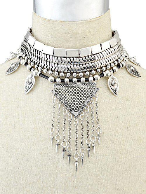 Fringed Metal Triangle Choker Necklace - SILVER