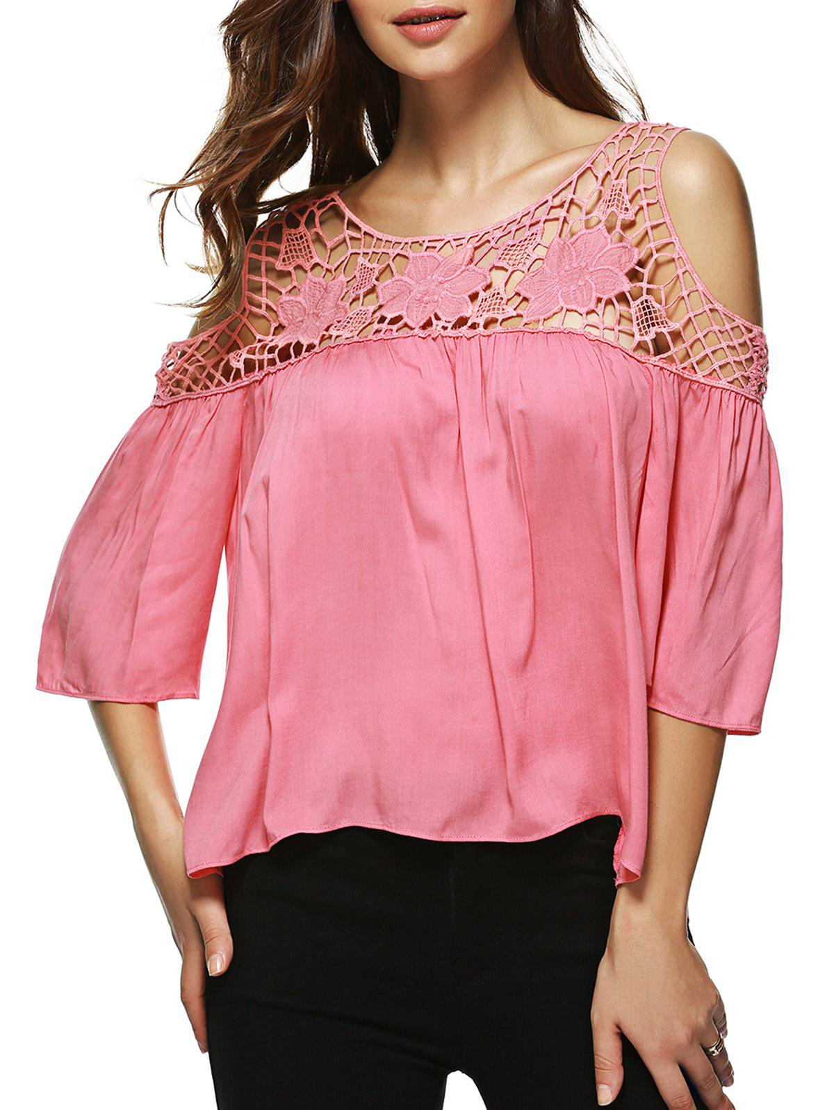 Lace Spliced Solid ColorHollow Out Blouse - PINK XL