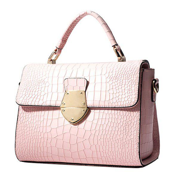 Chic PU Leather and Crocodile Print Design Women's Shoulder Bag - PINK