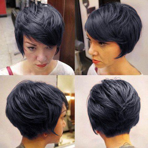 Prevailing Short Jet Black Human Hair Side Bang Fluffy Wig For Women - JET BLACK