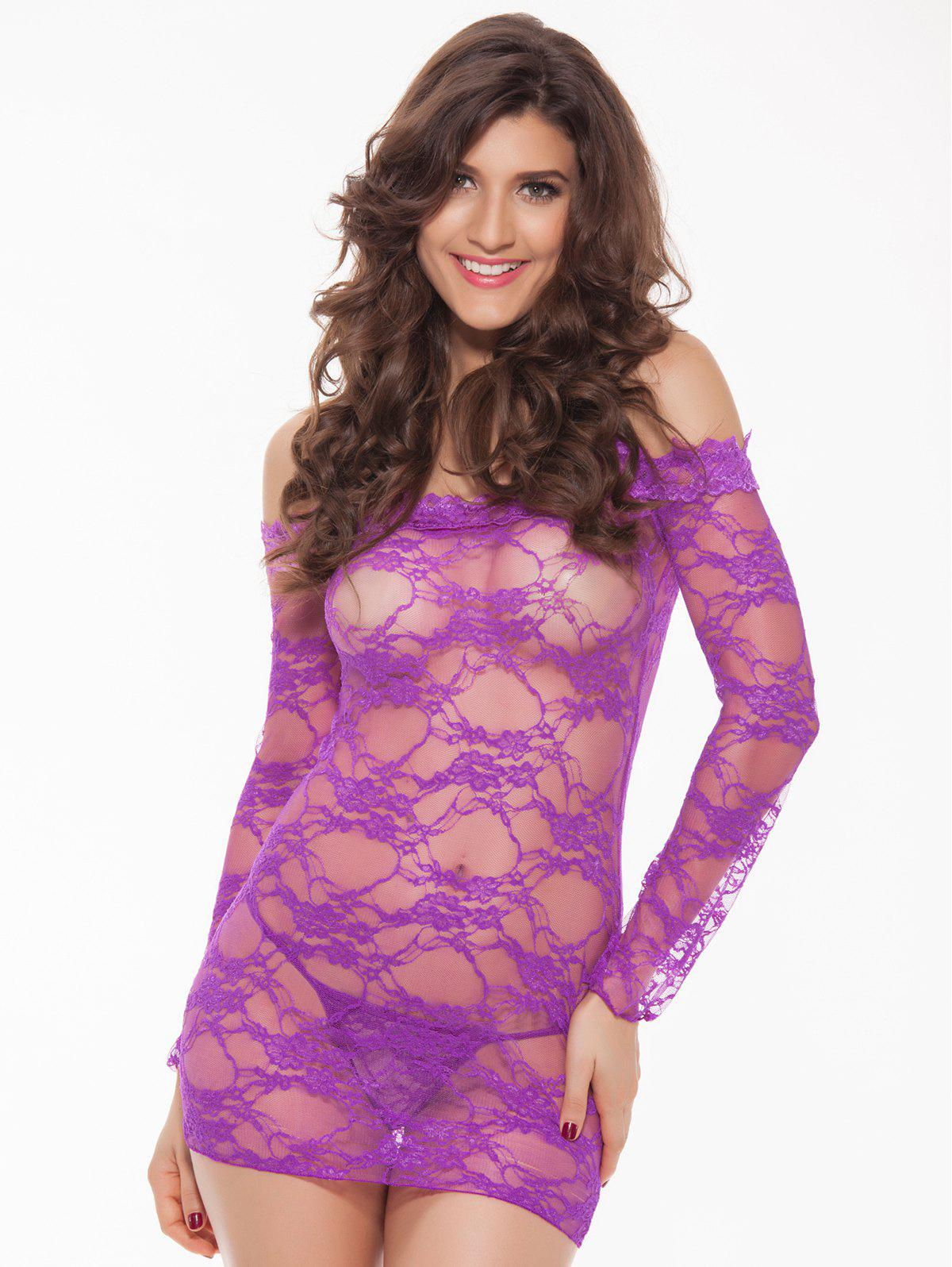 Alluring Women's Off-The-Shoulder Lace Babydoll - PURPLE 3XL