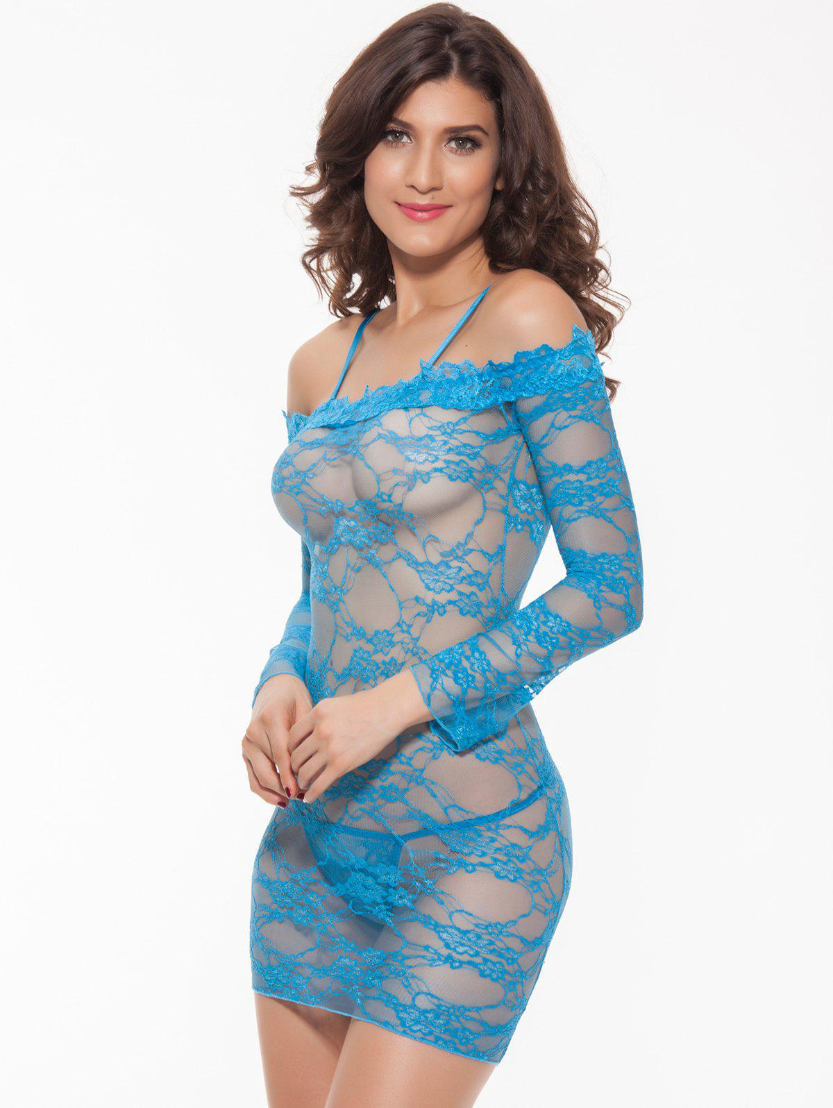 Alluring Women's Off-The-Shoulder Lace Babydoll, LIGHT BLUE, XL in ...