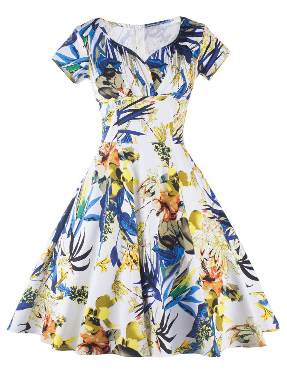 Stunning Floral Fit and Flare Dress For Women - COLORMIX 2XL