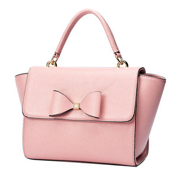 Sweet Bowknot and Rhinestones Design Women's Shoulder Bag - PINK