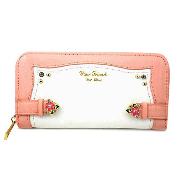 Chic Color Block and Floral Design Women's Wallet -  LIGHT PINK