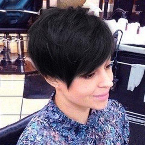 Ladylike Fluffy Short Boy Cut Women's 100 Percent Human Hair Side Bang Wig - JET BLACK