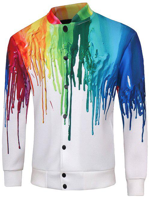 Snap Button Up Multicolor Print Long Sleeve Men's Jacket - WHITE 5XL