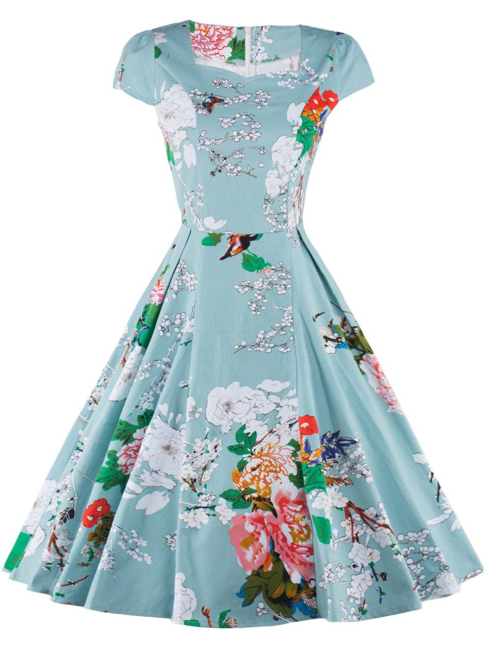 Retro Floral Print Ruffled Dress For Women - LIGHT GREEN 2XL