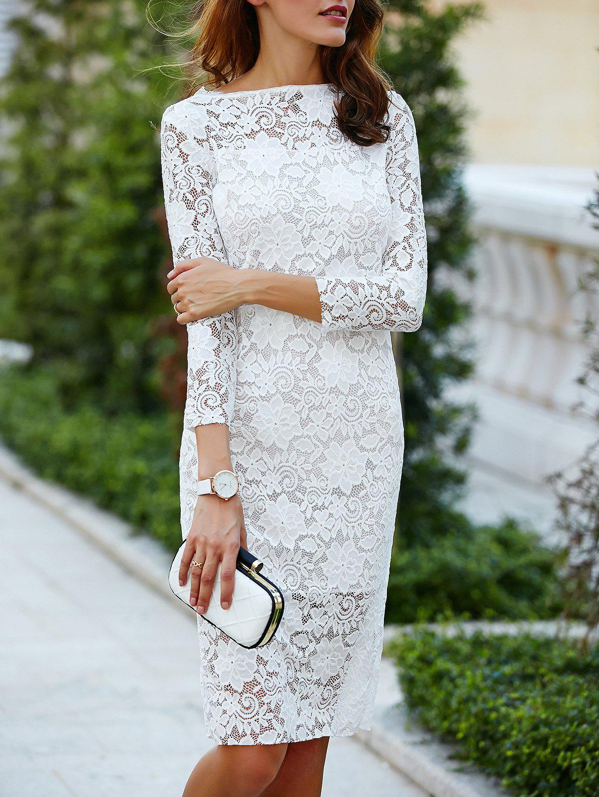 Cut Out Over Hip 3/4 Sleeve Pure Color Lace Dress For Women - WHITE S