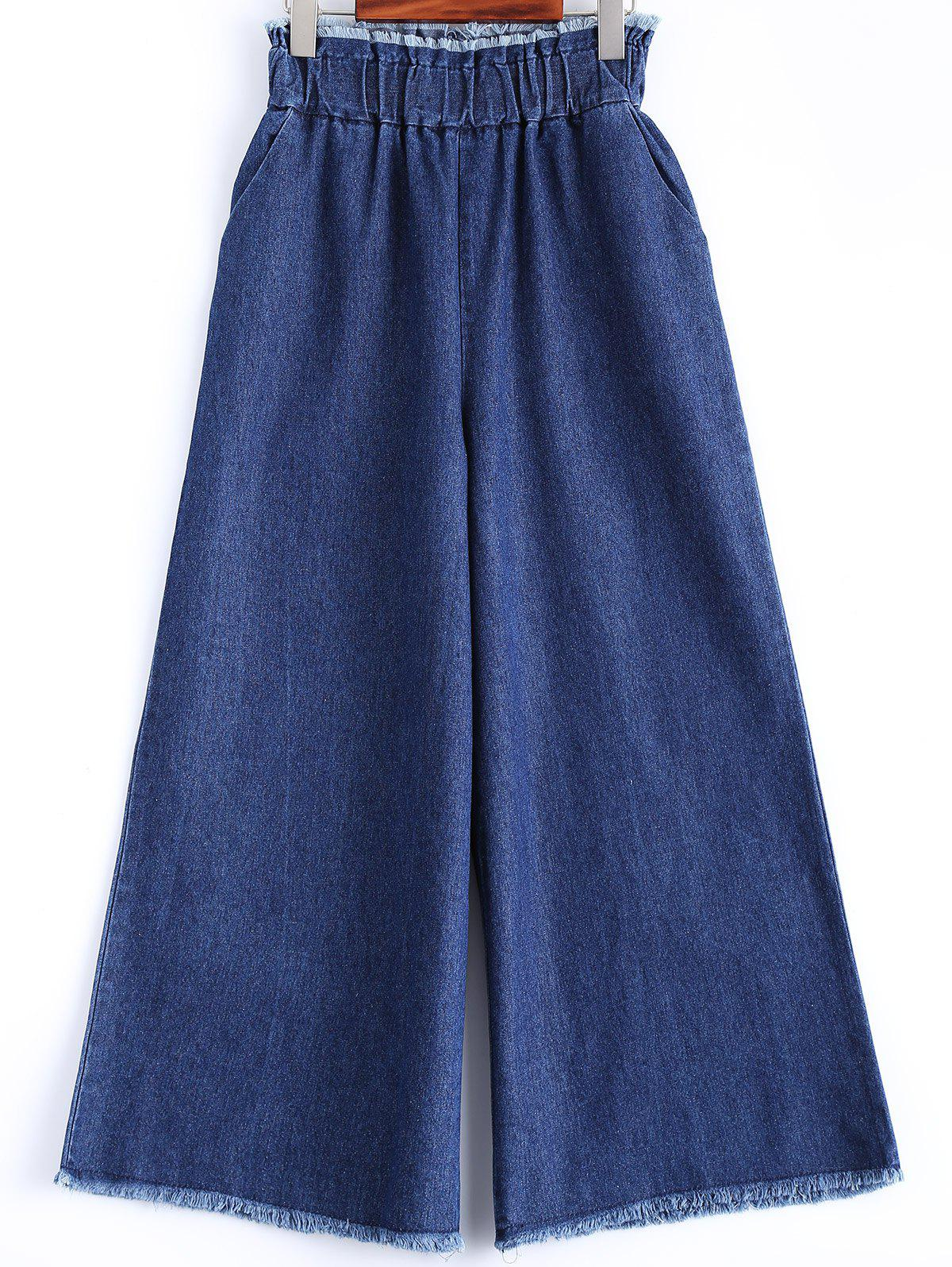 Effilochés Wide Leg Jeans - Denim Bleu 2XL