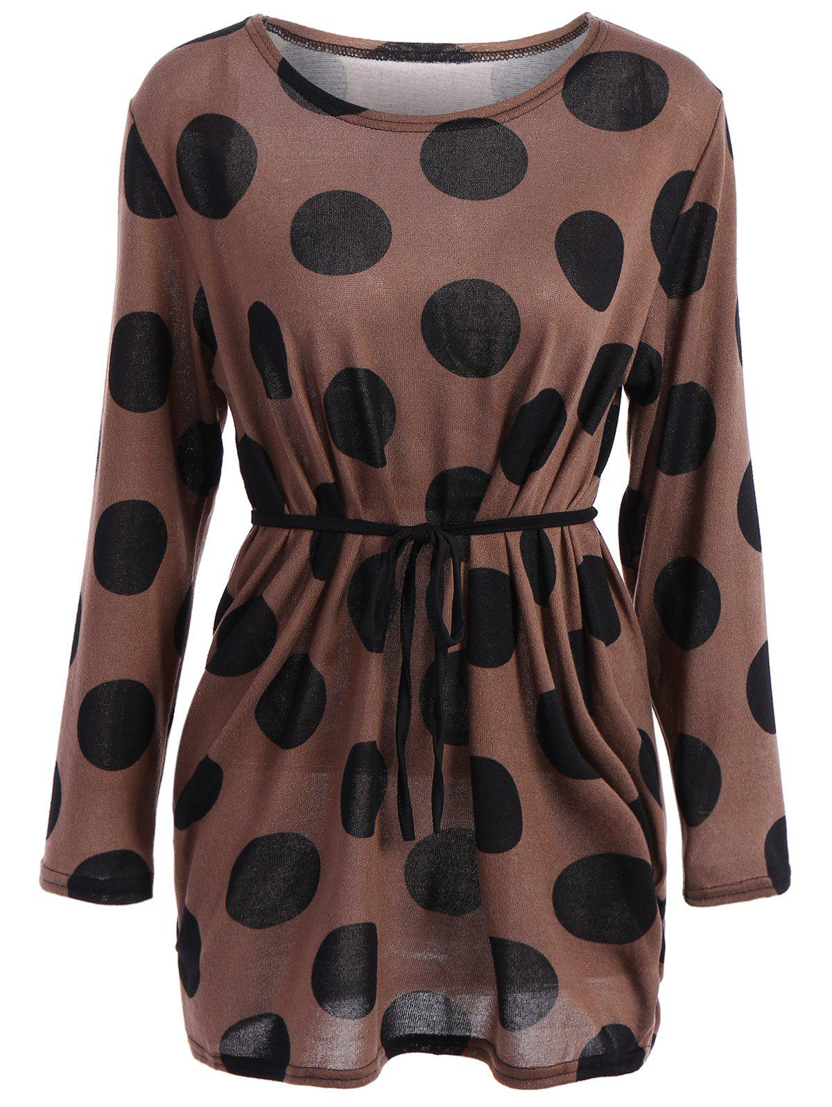 Casual Scoop Collar Polka Dot Print Loose Long Sleeve T-Shirt For Women - KHAKI ONE SIZE(FIT SIZE XS TO M)