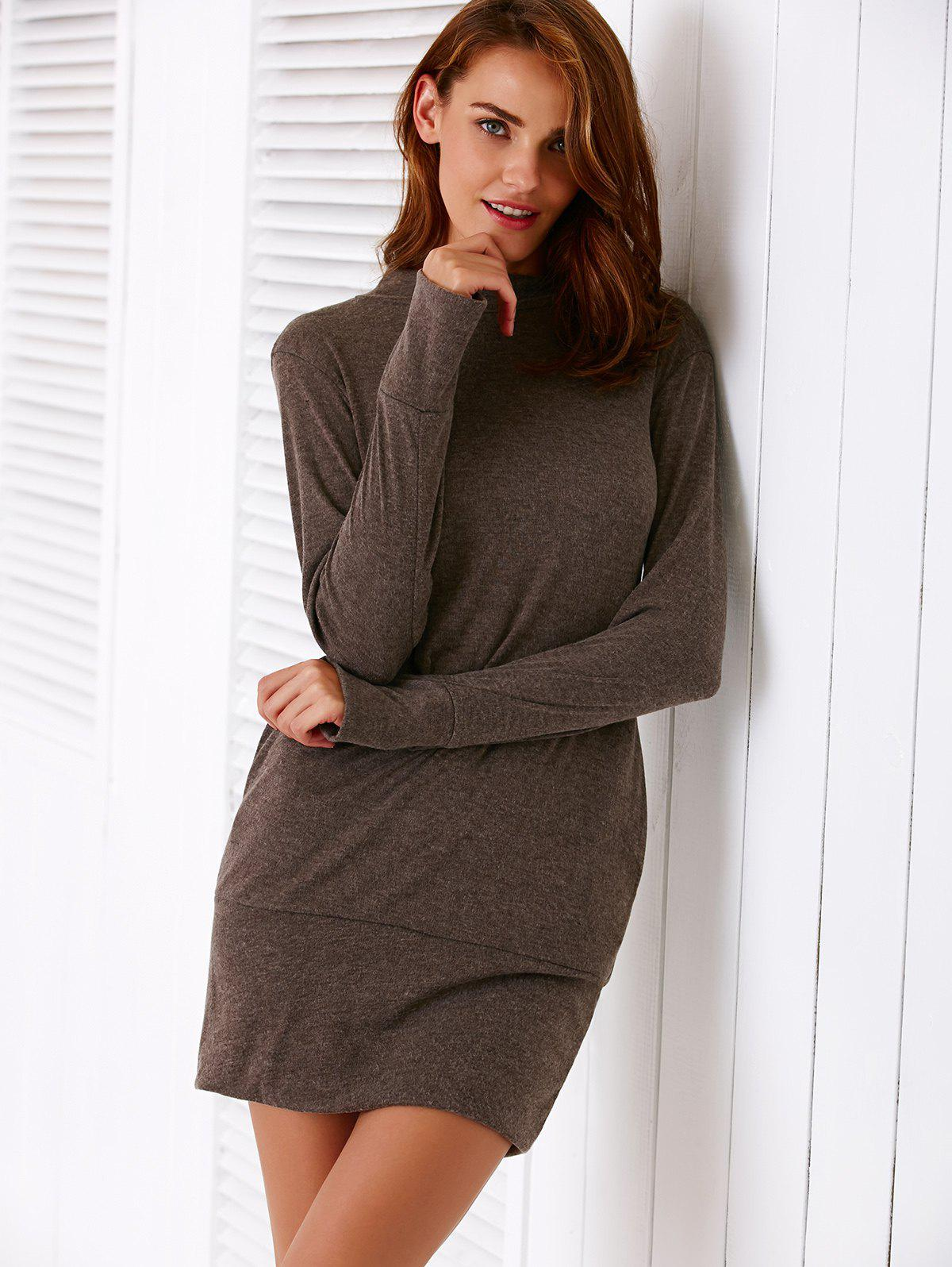 Pure Color Turtleneck Long Sleeve Dress For Women - GRAY S