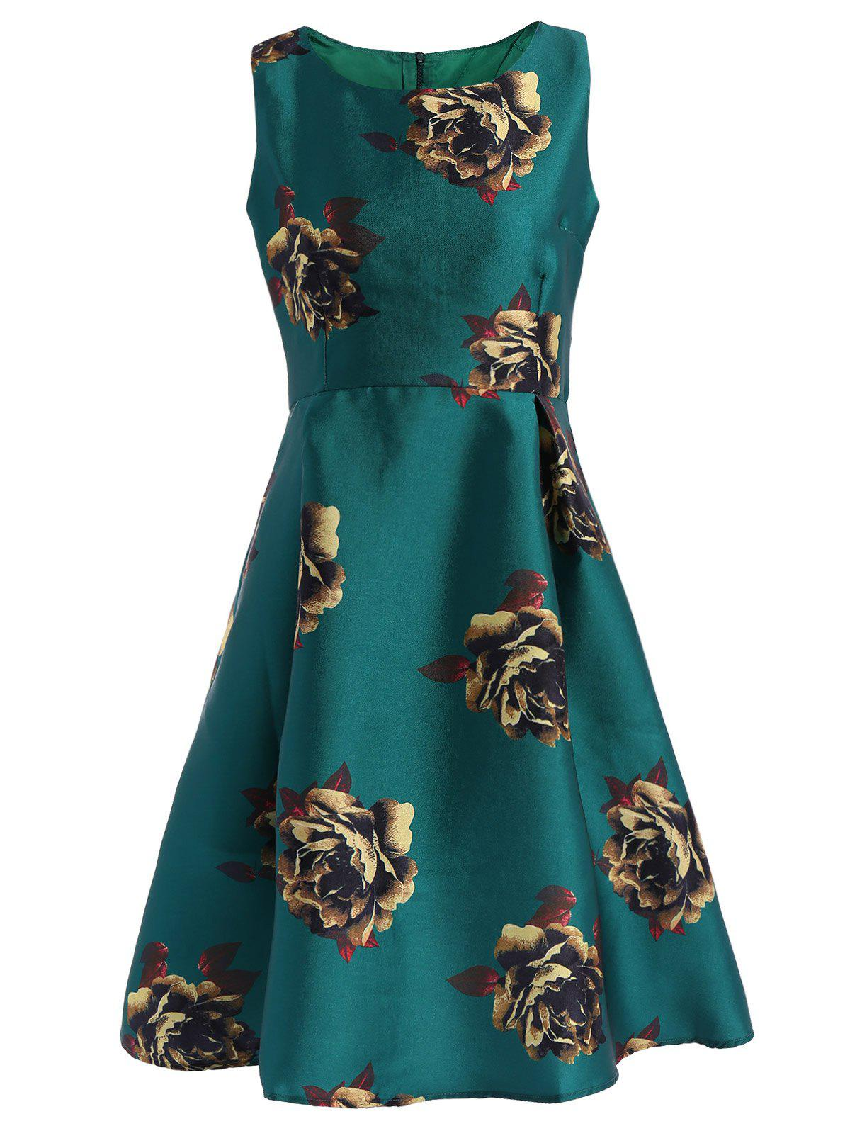 Retro Elegant Round Neck Sleeveless Floral Print Flared Women's Dress