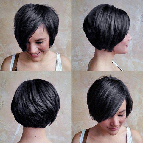 Fashion Short Black Women's Human Hair Side Parting Wig - BLACK