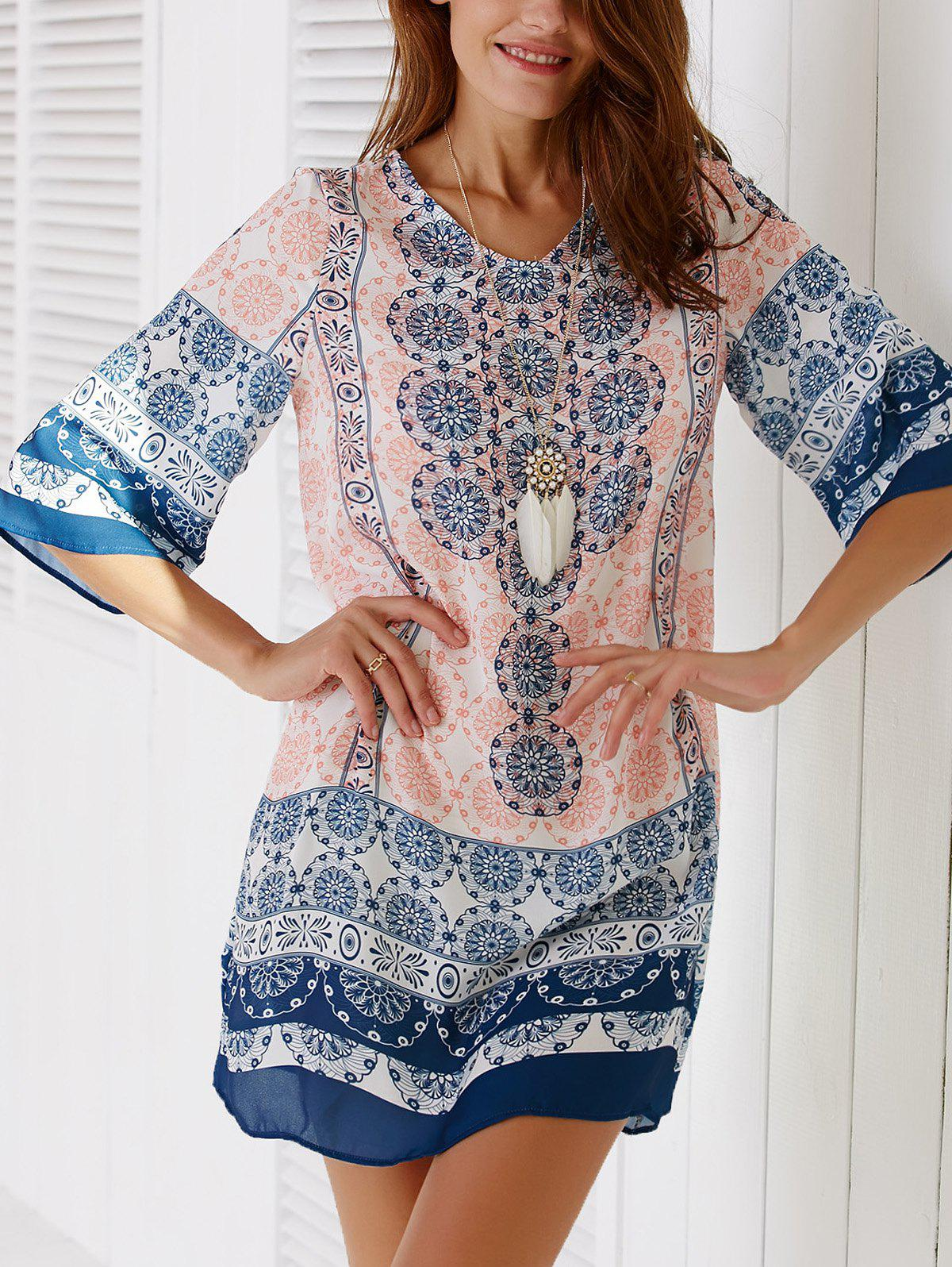 Ethnic Style V-Neck 3/4 Sleeve Tribal Printed Women's Dress - COLORMIX L